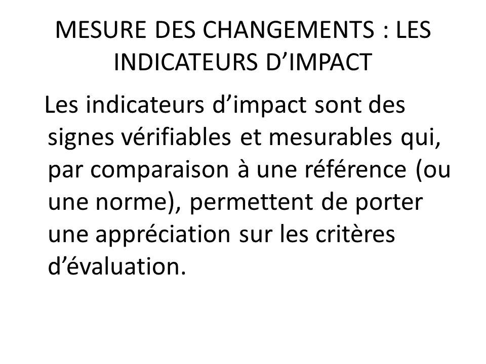 MESURE DES CHANGEMENTS : LES INDICATEURS D'IMPACT