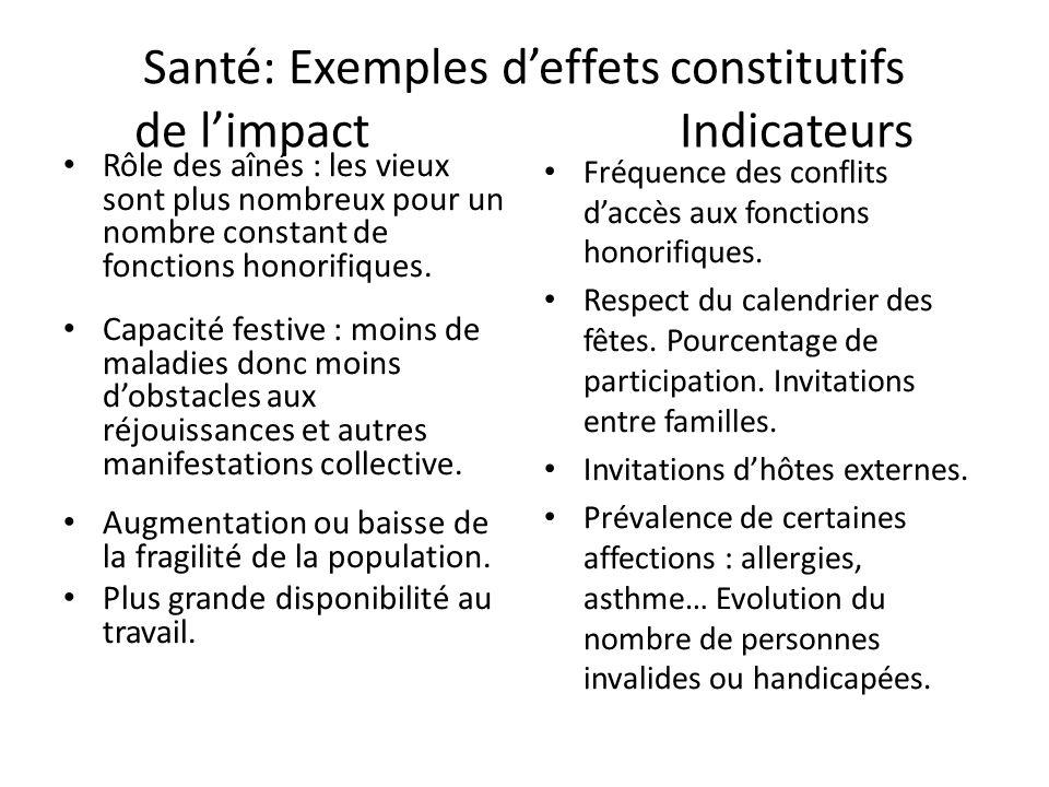 Santé: Exemples d'effets constitutifs de l'impact Indicateurs