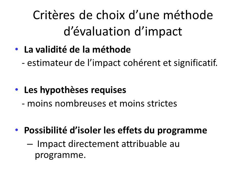 Critères de choix d'une méthode d'évaluation d'impact