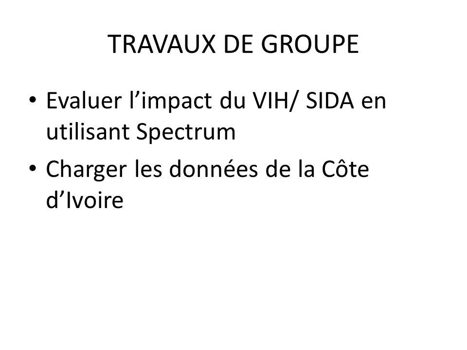TRAVAUX DE GROUPE Evaluer l'impact du VIH/ SIDA en utilisant Spectrum