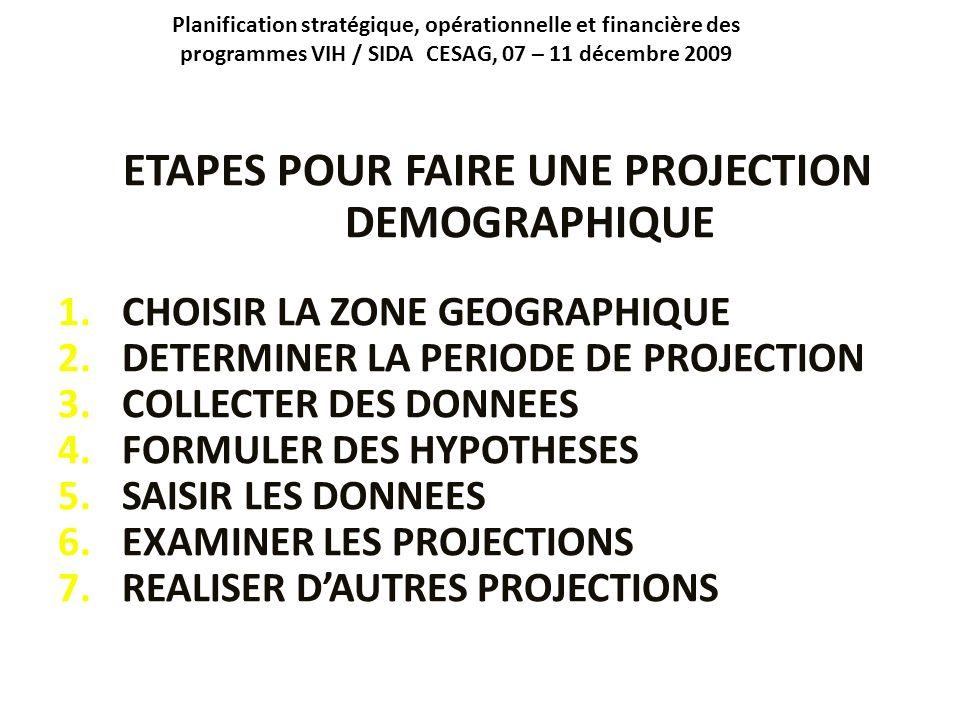 ETAPES POUR FAIRE UNE PROJECTION DEMOGRAPHIQUE