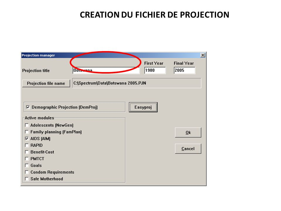 CREATION DU FICHIER DE PROJECTION
