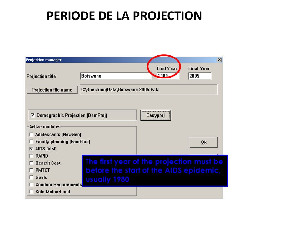 PERIODE DE LA PROJECTION