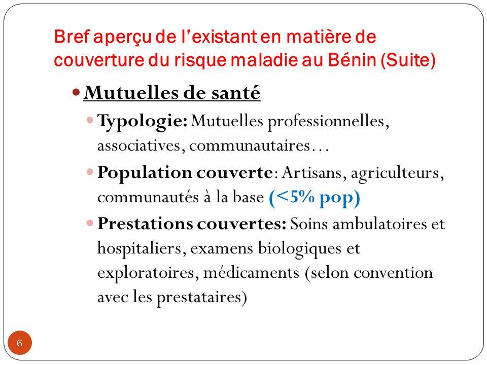 Bref aperçu de l'existant en matière de couverture du risque maladie au Bénin (Suite)