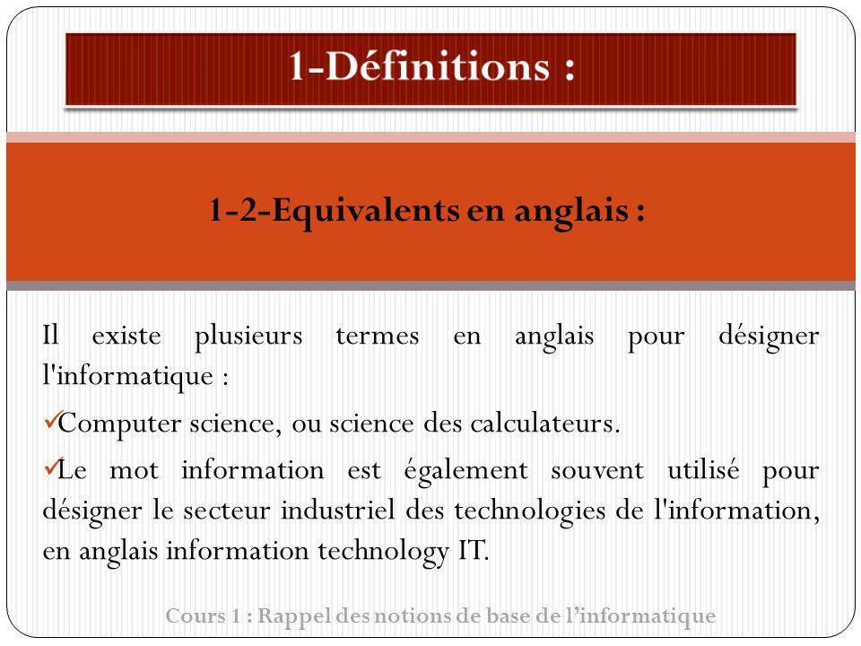 1-Définitions : 1-2-Equivalents en anglais :