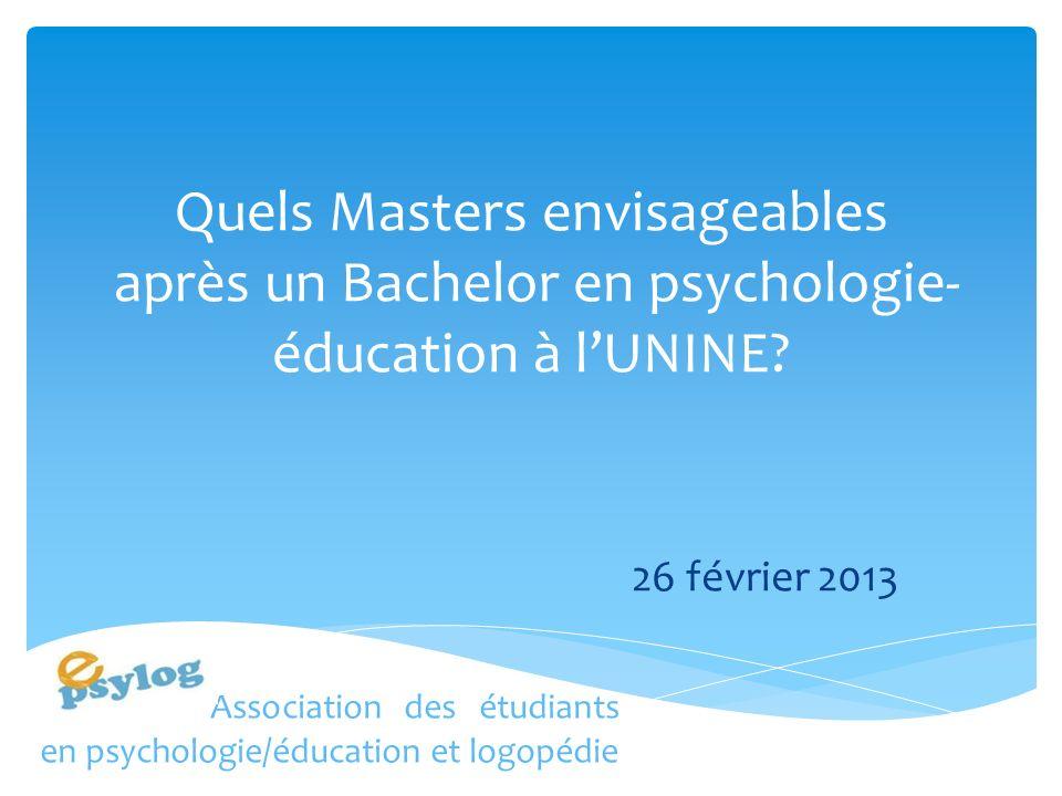 Quels Masters envisageables après un Bachelor en psychologie-éducation à l'UNINE