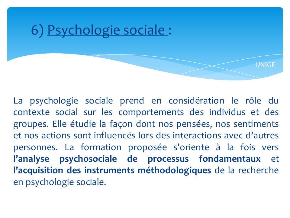 6) Psychologie sociale :