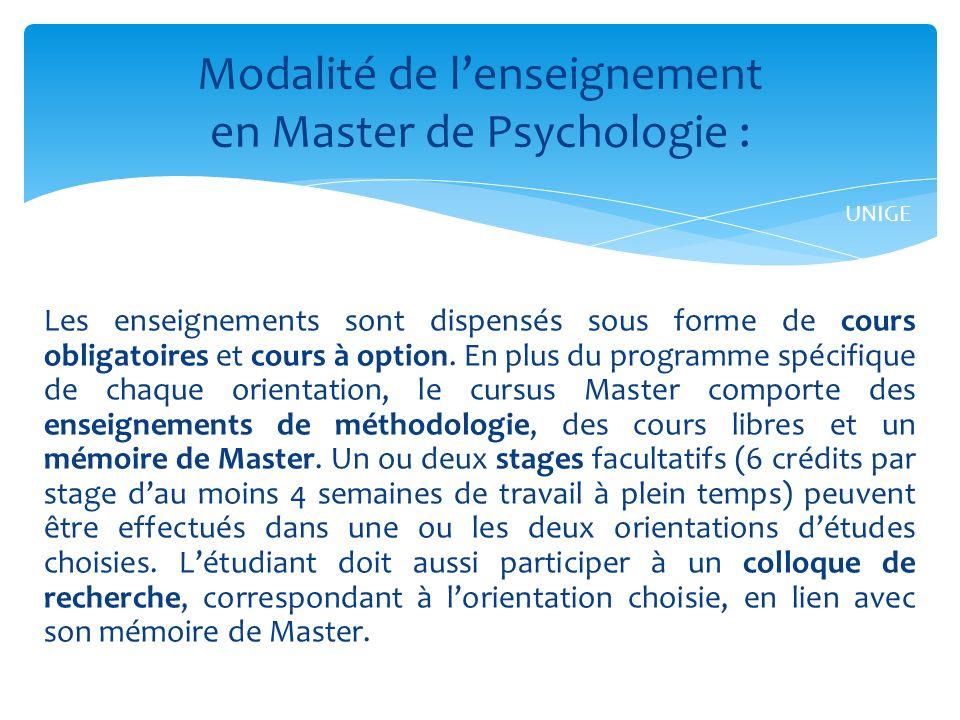 Modalité de l'enseignement en Master de Psychologie :