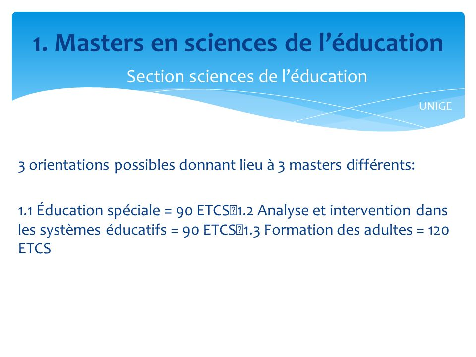 1. Masters en sciences de l'éducation