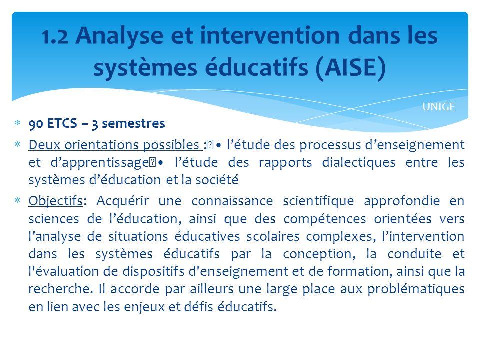 1.2 Analyse et intervention dans les systèmes éducatifs (AISE)