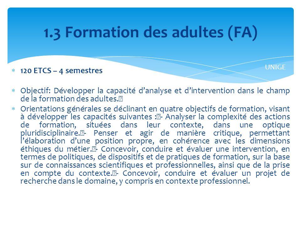 1.3 Formation des adultes (FA)
