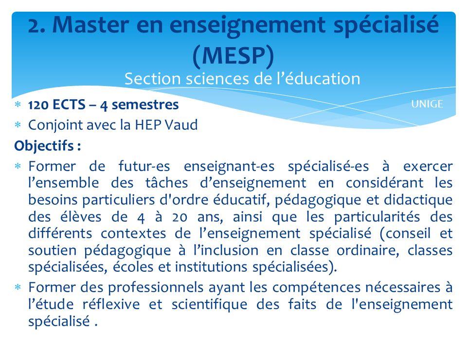 2. Master en enseignement spécialisé (MESP)