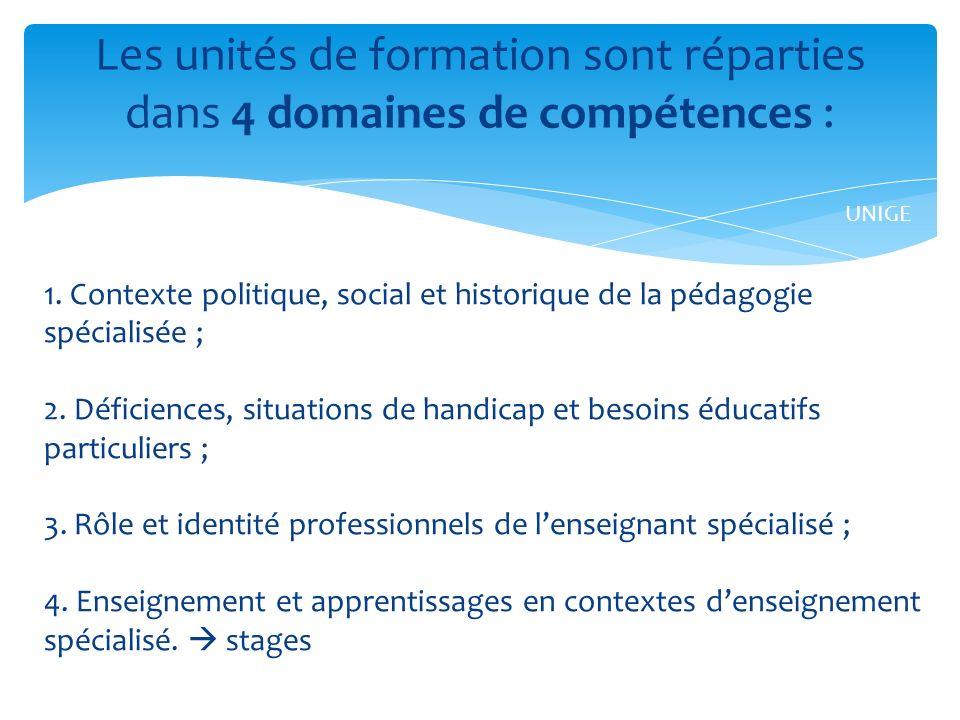 Les unités de formation sont réparties dans 4 domaines de compétences :