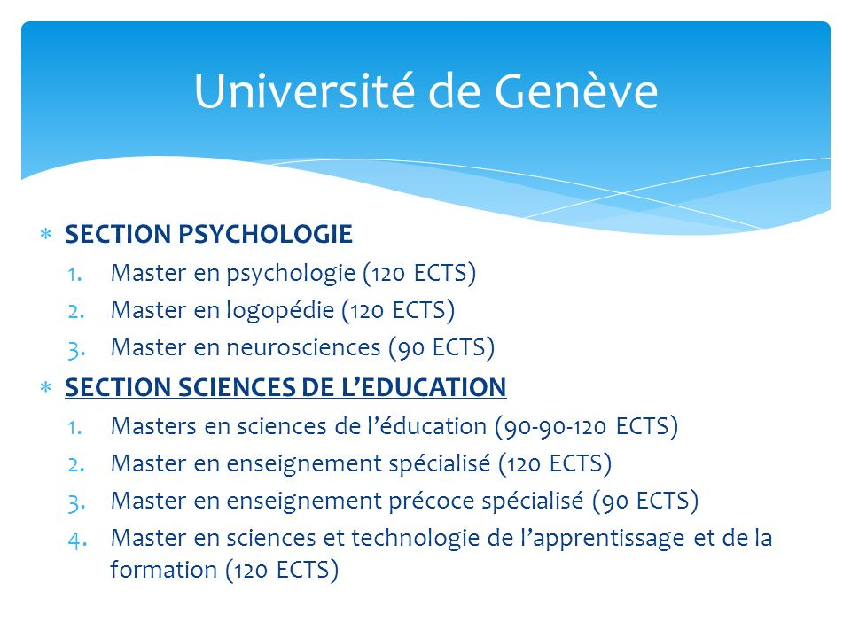 Université de Genève SECTION PSYCHOLOGIE