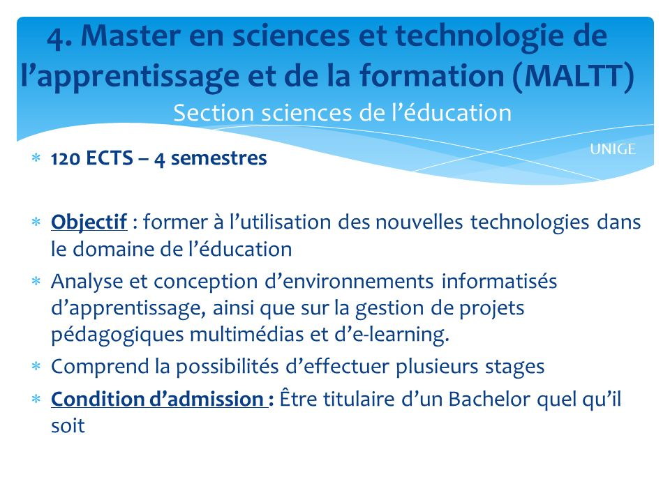 4. Master en sciences et technologie de l'apprentissage et de la formation (MALTT)