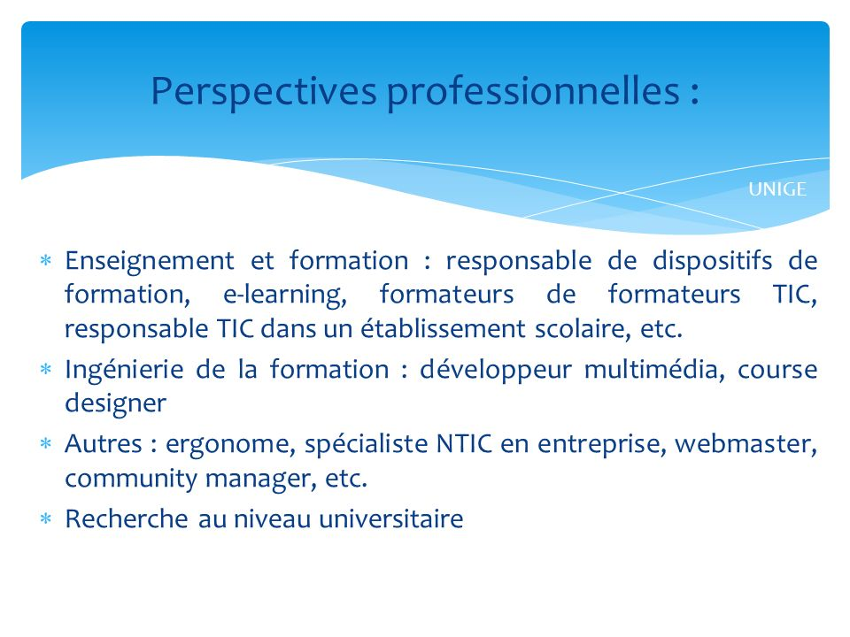 Perspectives professionnelles :