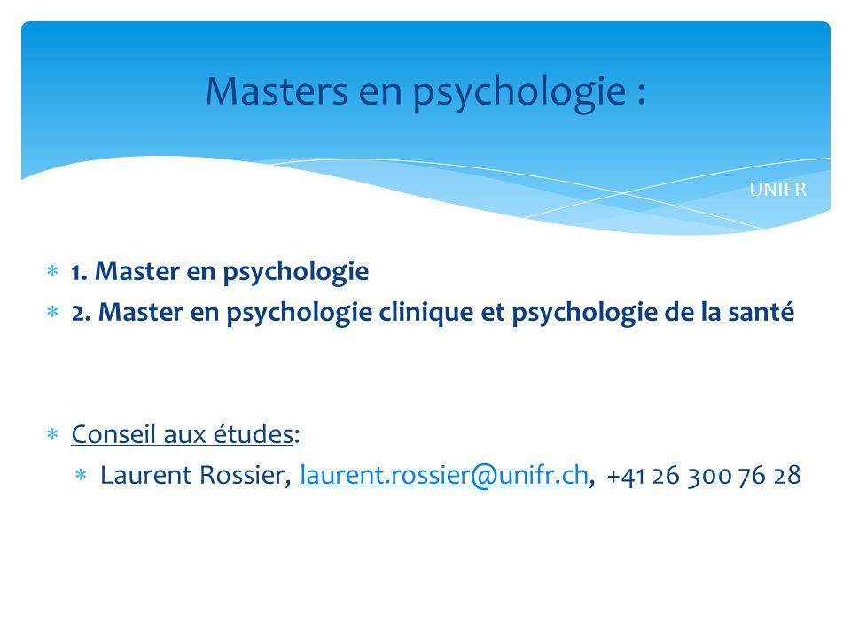 Masters en psychologie :