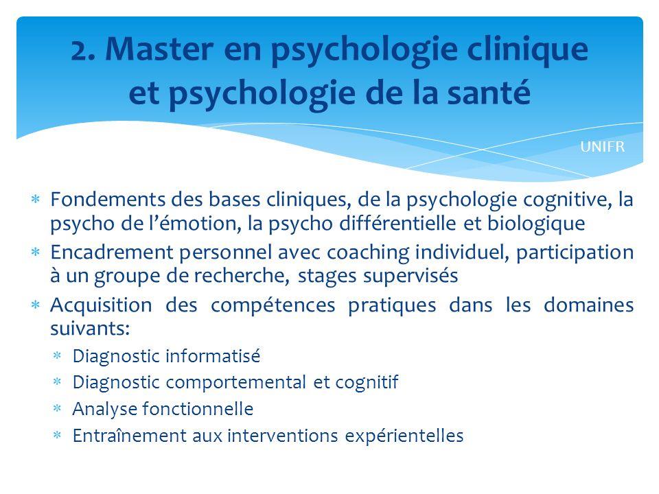 2. Master en psychologie clinique et psychologie de la santé