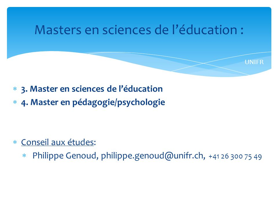 Masters en sciences de l'éducation :
