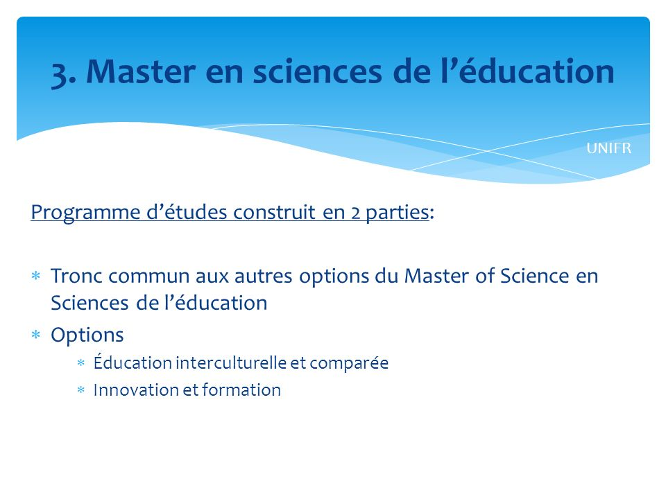 3. Master en sciences de l'éducation