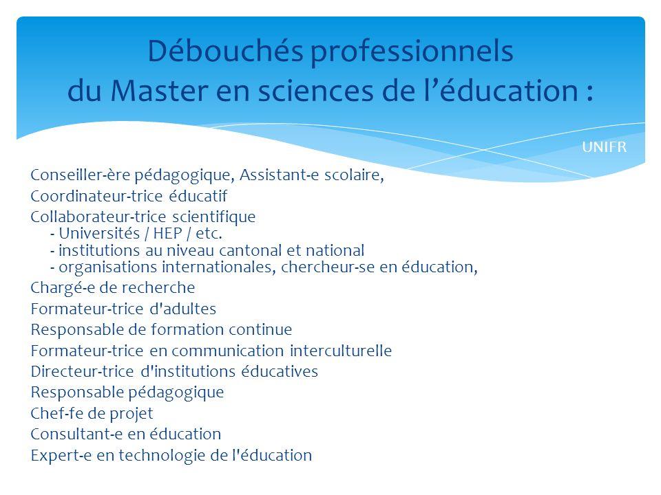Débouchés professionnels du Master en sciences de l'éducation :