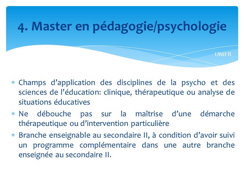 4. Master en pédagogie/psychologie