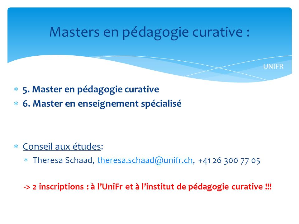Masters en pédagogie curative :