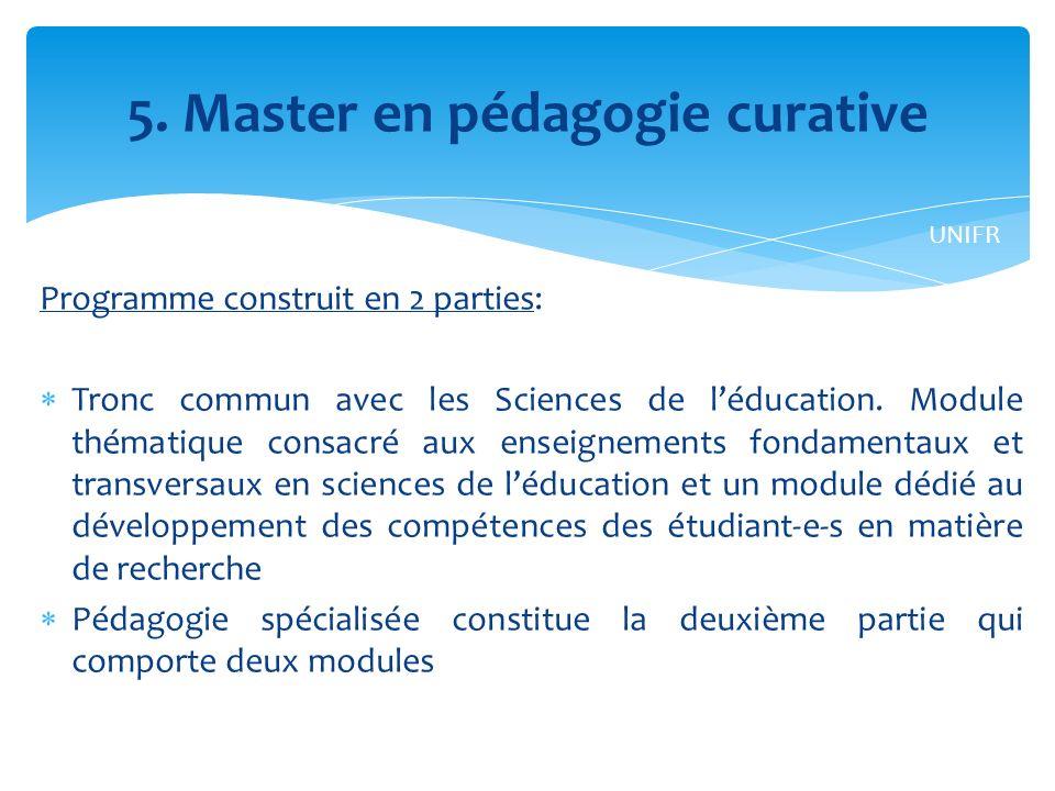 5. Master en pédagogie curative