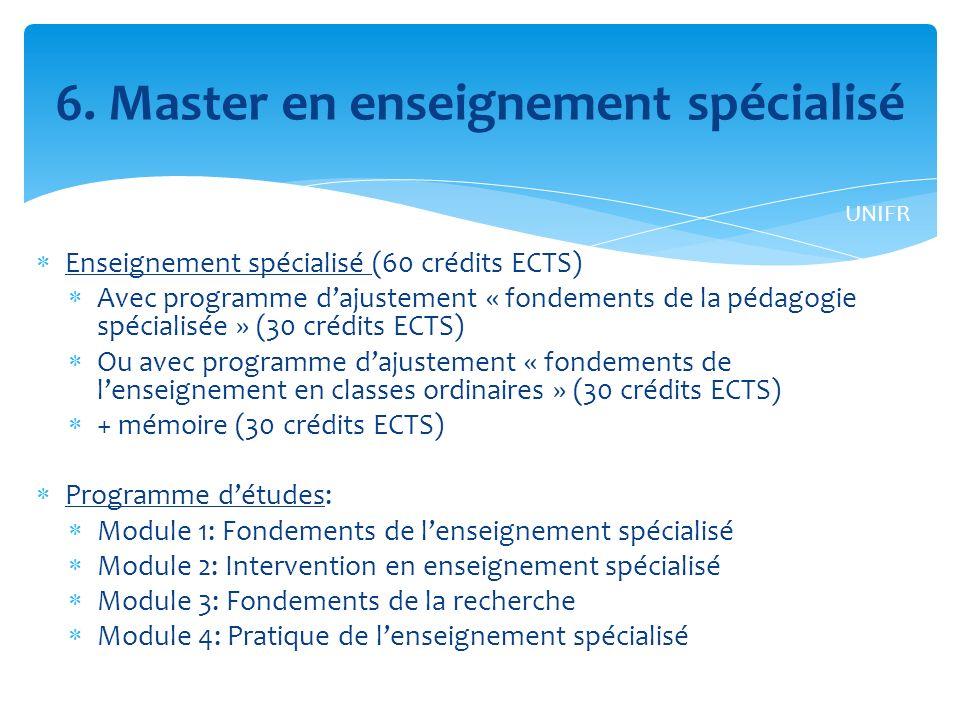 6. Master en enseignement spécialisé