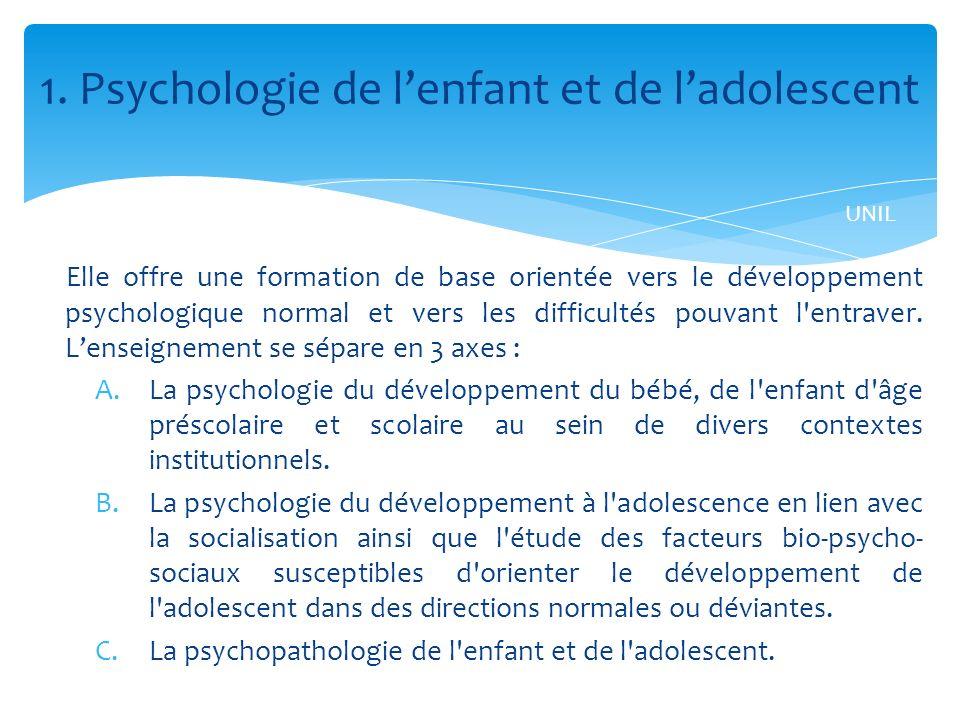1. Psychologie de l'enfant et de l'adolescent