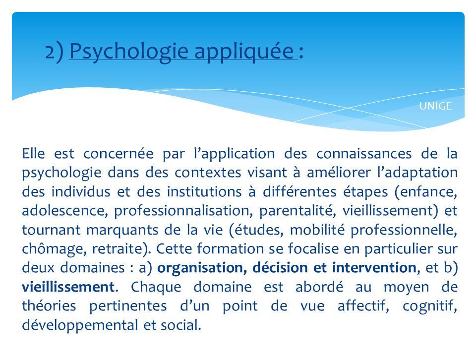 2) Psychologie appliquée :