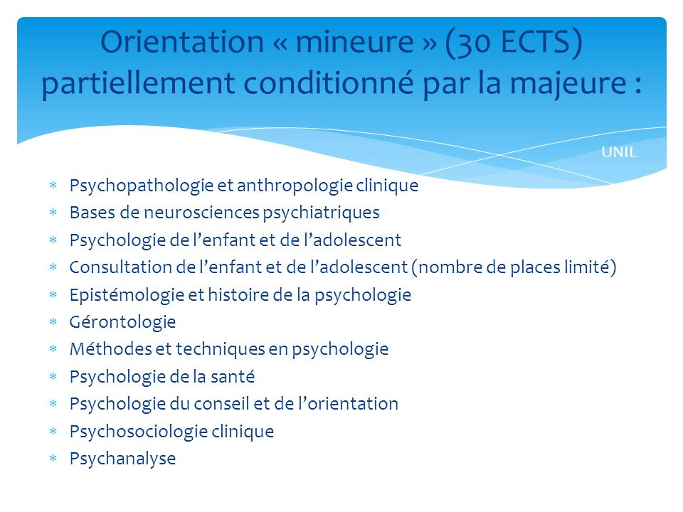 Orientation « mineure » (30 ECTS) partiellement conditionné par la majeure :