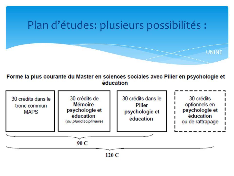 Plan d'études: plusieurs possibilités :
