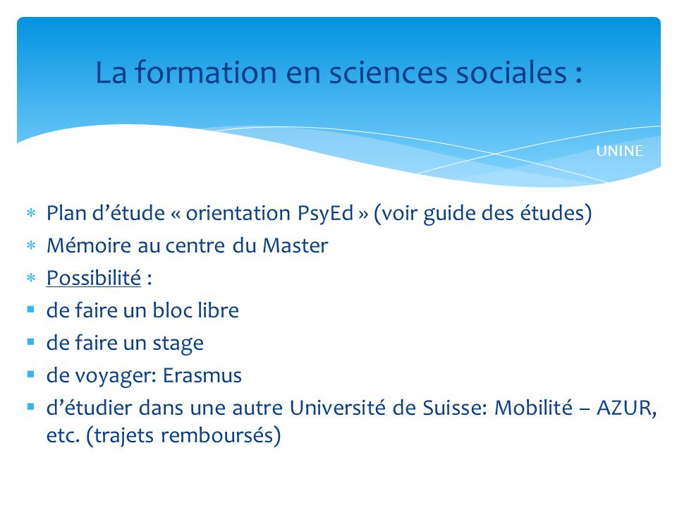 La formation en sciences sociales :