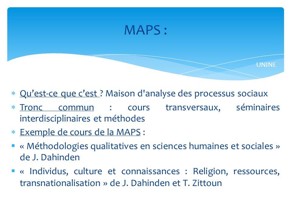 MAPS : Qu'est-ce que c'est Maison d analyse des processus sociaux