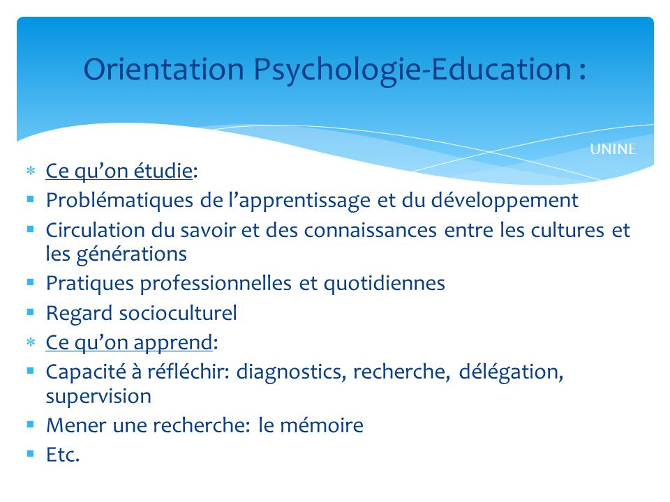Orientation Psychologie-Education :