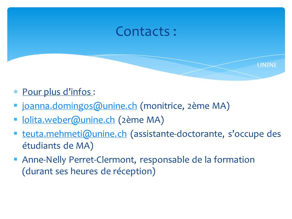 Contacts : Pour plus d'infos :