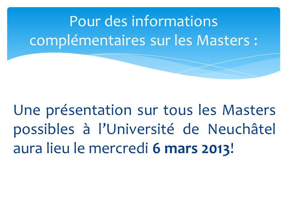 Pour des informations complémentaires sur les Masters :
