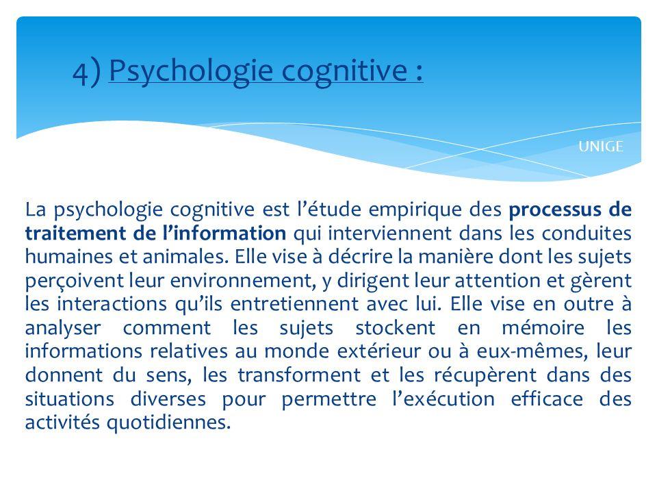 4) Psychologie cognitive :