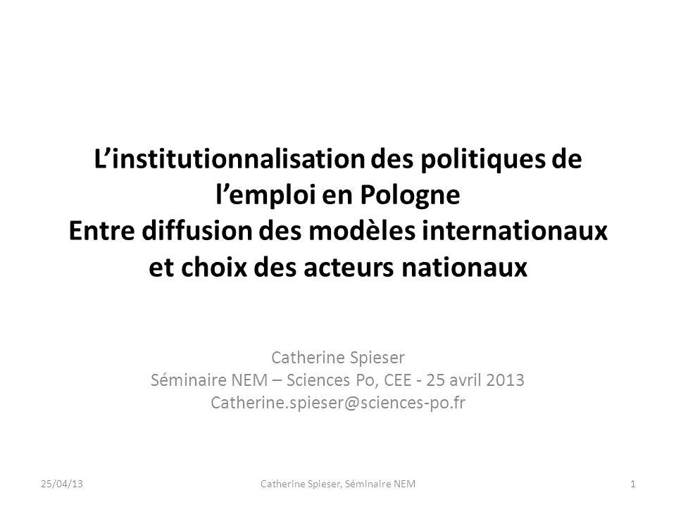 L'institutionnalisation des politiques de l'emploi en Pologne Entre diffusion des modèles internationaux et choix des acteurs nationaux