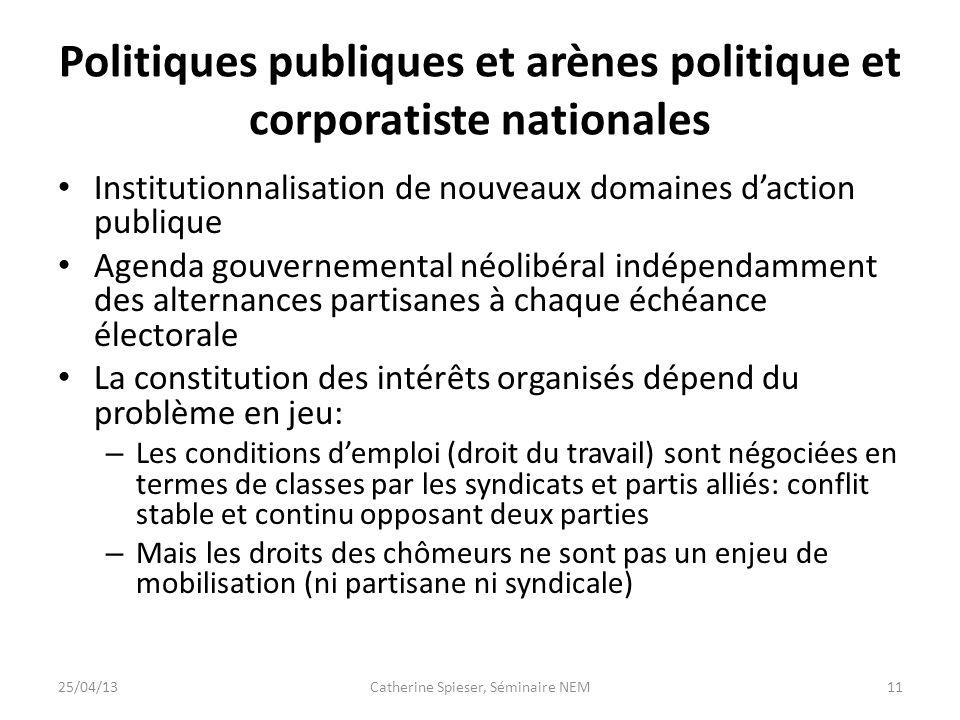 Politiques publiques et arènes politique et corporatiste nationales