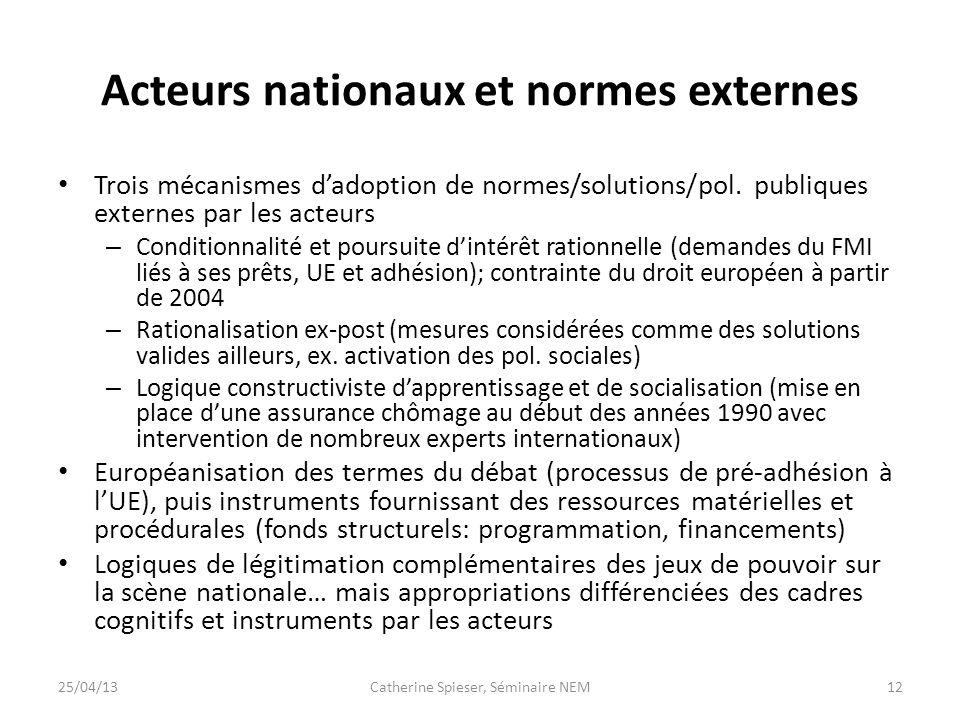 Acteurs nationaux et normes externes