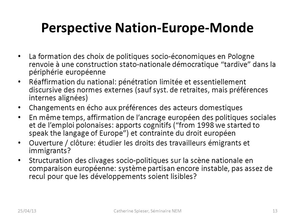 Perspective Nation-Europe-Monde