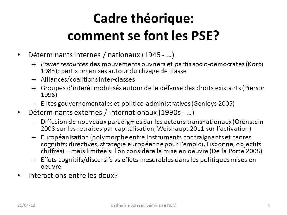 Cadre théorique: comment se font les PSE