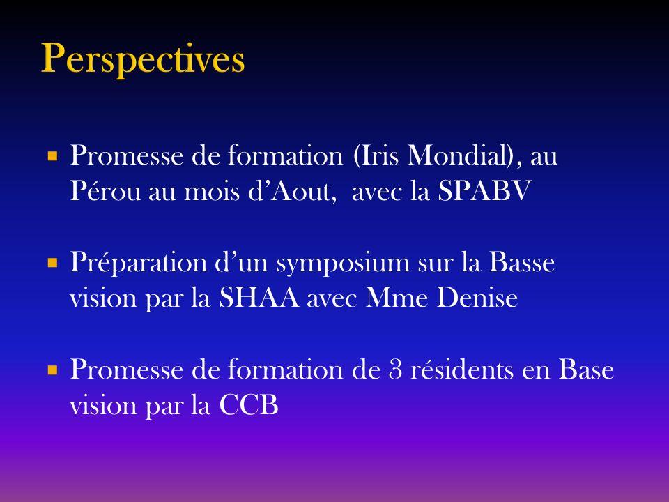 Perspectives Promesse de formation (Iris Mondial), au Pérou au mois d'Aout, avec la SPABV.