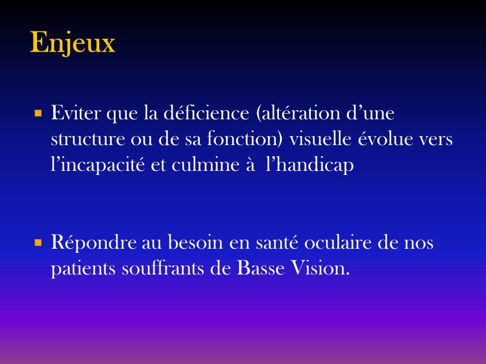 Enjeux Eviter que la déficience (altération d'une structure ou de sa fonction) visuelle évolue vers l'incapacité et culmine à l'handicap.