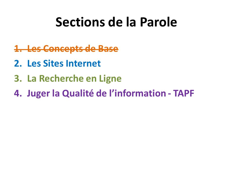 Sections de la Parole Les Concepts de Base Les Sites Internet