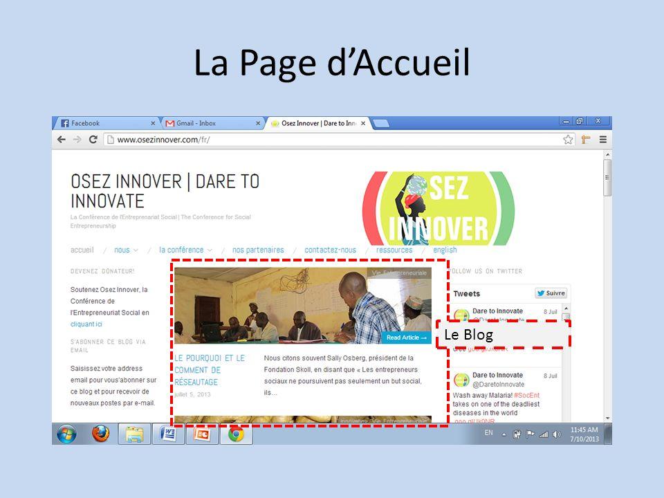 La Page d'Accueil Le Blog