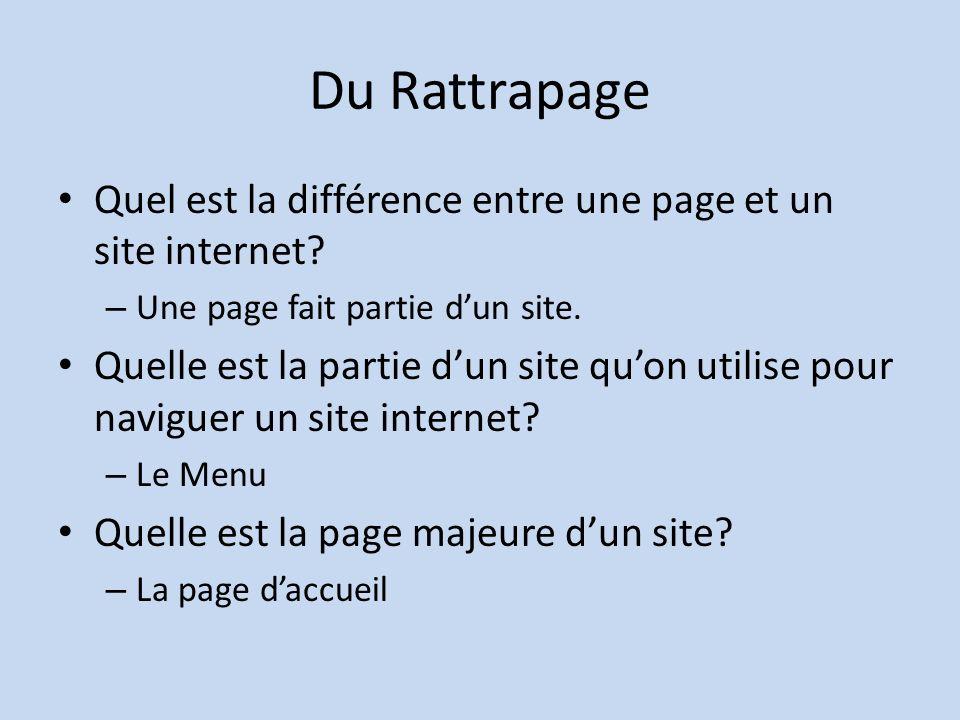 Du Rattrapage Quel est la différence entre une page et un site internet Une page fait partie d'un site.