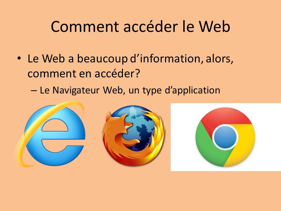 Comment accéder le Web Le Web a beaucoup d'information, alors, comment en accéder.